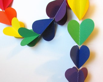 Rainbow heart garland/bunting/banner/3 dimensional
