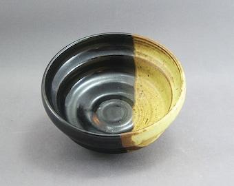 Pottery Small Bowl Yellow Salt & Tenmoku FF10