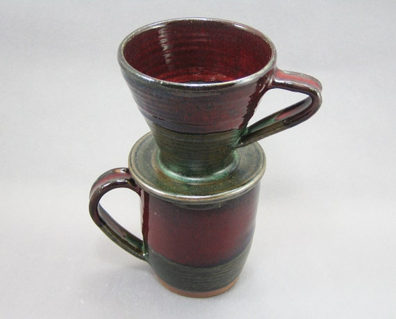 pottery coffee mug pour over filter red green to black. Black Bedroom Furniture Sets. Home Design Ideas