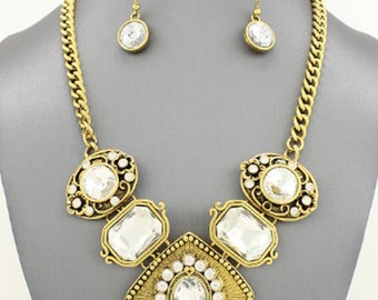 Victorian Crystal  Necklace Set