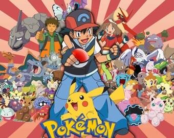 """Pokemon Anime Poster 8.5"""" x 11"""" - 11"""" x 17"""" - 13"""" x 19"""""""