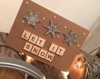 Let it snow snowflake scrabble christmas card