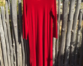 1990 goth ruby red velvet dress, long sleeve, medium