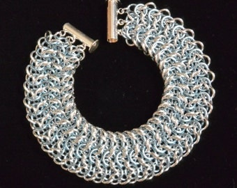 Icy Blue and Silver Elfweave Chainmail Cuff