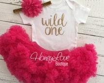 Wild One - SILVER or GOLD glitter shirt, hot pink watermelon pettiskirt tutu skirt, flower headband, First Birthday 1st Cake Smash baby girl