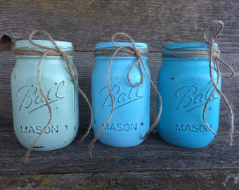 Blue Mason Jar Set