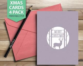 Christmas Cards, Printable Christmas Cards, Christmas Decorations, Christmas Card Set, INSTANT DOWNLOAD