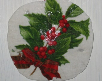 Boughs of Holly Sand Dollar Ornament
