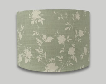 Green White Floral Drum Lampshade Lamp Shade Lightshade 20cm 25cm 30cm 35cm 40cm 50cm 60cm and 70cm sizes available