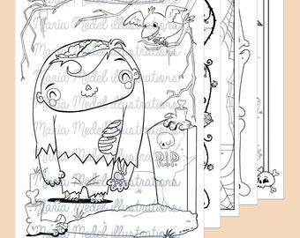 6 páginas de colorear para los niños.   Zombie-esqueleto-Frankenstein-vampiro-hombre lobo y la bruja (¡nuevo!)