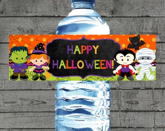 Halloween Water Bottle Label, Halloween Party, Party Printables, Water Bottle Labels, Party Bottle Labels, Printable Bottle Label, Halloween