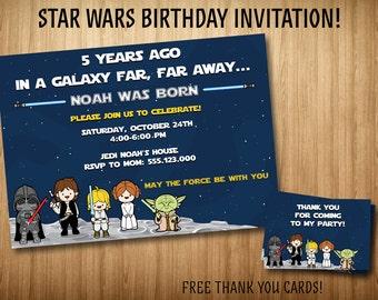 "Star Wars invitation, Star Wars kids invitation, Star Wars Birthday invitation. 4x6"" and 5x7"" sizes. Free thank you cards! Invitaiton #1"