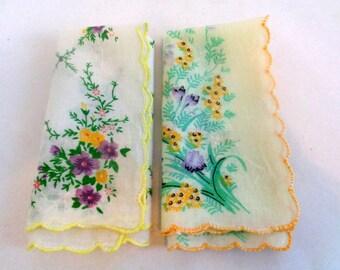 Lot of 2 Vintage Cotton Printed Handkerchief, Print Hankie, Floral Hankie