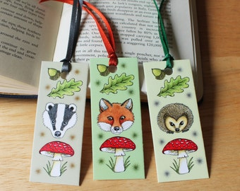 Woodland Animal Bookmarks, Pack of 3 Mammal mini Bookmarks, Fox, Badger and Hedgehog Page Markers
