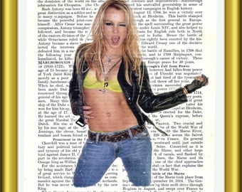 Unique Britney Spears art print upcycled book page vintage recycled & rare