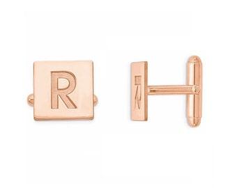 Custom Engraved Wedding Initials 18k Rose Gold Plated 925 Sterling Silver Cufflinks, Personalized Cufflinks, Groom Cufflinks,
