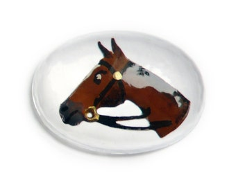 Vintage Reverse Carved Crystal Painting Cabochon Intaglio, Horse Head Equestrian Sport Stone - 20x15mm oval -1 piece - I2-3
