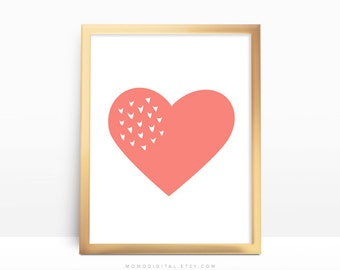 SALE -  Coral Heart, Love Print, Heart Picture Poster, Heart Image, Heart Illustration, Baby Girl Nursery, Nursery Poster, Modernism