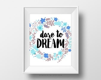 SALE -  Dare To Dream, Floral Wreath, Nature Wreath, Flower Circle, Blue Flowers, Brown, Handlettering Quote, Dream Quote, Chic