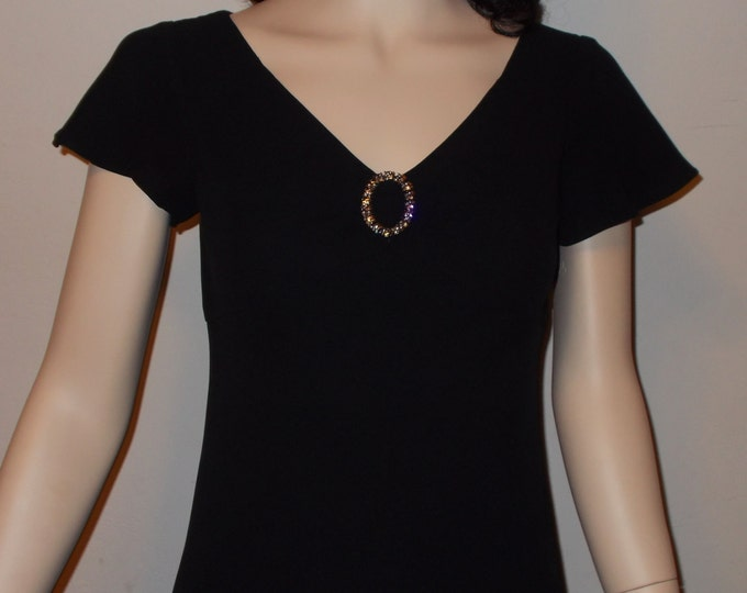 Vintage 80s Evan Picone Polyester Little Black Dress Womens Petite Cocktail Evening Above The Knee Special Occasion Dress