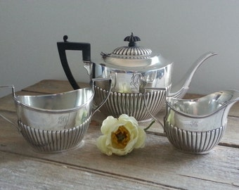Stunning Birk's Sterling Silver Tea set / Teapot / Sugar and Milk or Cream dish / Hallmarked / 750grams / 1910s