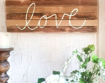 1x2 Hand Lettered, Love Wood Slat Sign