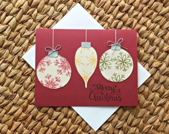 Christmas Ornament Card - Holiday Cards - Merry Christmas - Seasons Greetings - Blank Cards - Set of 5 Christmas Cards