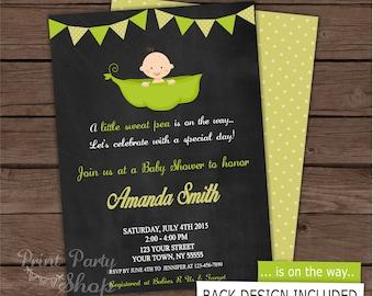 Pea Baby Shower Invitation / Baby shower Invitation /  Boy Invitation