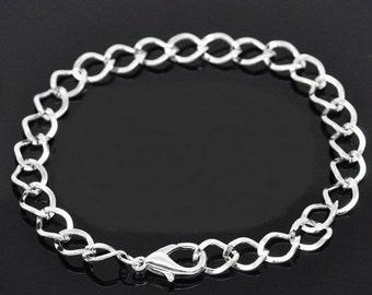 "1 Silver Plated Links Charm Bracelet Lobster Clasp Chain Bracelets 7-7/8"""