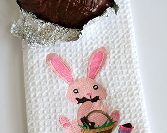 Easter chocolate bunny kitchen towel gift for 10 dollars
