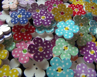 20 Painted Wood Buttons Flower Shape Buttons  Flower Painted Craft Projects Sewing Buttons Mixed Lot