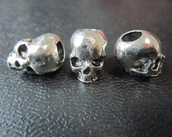 1PC Silver skull Dreadlock beads dread Hair Braid Jewelry Beard Beads Accessories 5mm hole