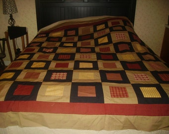 Homespun Quilt Top, Machine Pieced, Bedding, Quilts, Primitive,