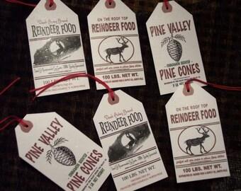 Vintage Christmas Reindeer Pine Cone Hang Tag Gift Tags
