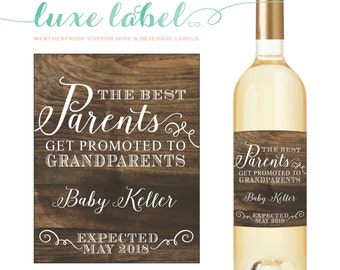 "The ""Best Parents Get Promoted"" to Grandparents Wine Label - Pregnancy Announcement Wine Label - Announcing Pregnancy to Family, Custom Wine"