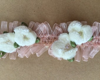 velvet rosebud trim. cream and pink rosebud trim. cream and pink velvet flower trim. rosebud embellishment.