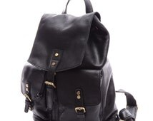 Black Oversized Leisure Leather Backpack Bag-Soft Leather Bag Casual Totes Purse Satchel Student Handmade Bag Fit 14-15Inch Laptop Case