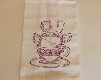 Teacup Embroidered Kitchen Towel / Dish Towel