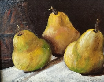 "gift, Pear painting,-""Barlett's Best"", small painting, traditional art, still life painting, painting with pears, original art,"
