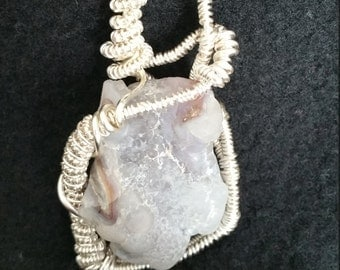 Unique Handmade Artisan Jewelry Chalcedony/Agate Geode Pendant Necklace Wire Wrapped