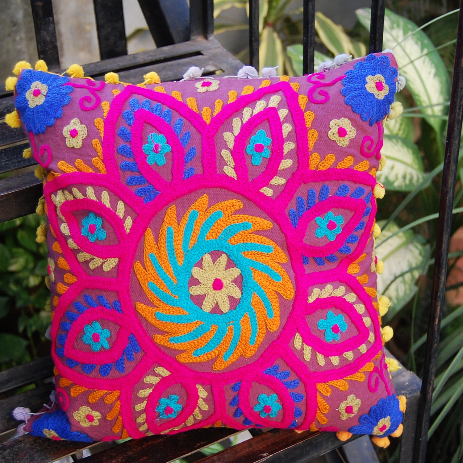 Cushion Covers Indian Handmade Woolen Embroidered Suzani