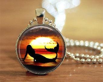 Mermaid, Mermaid Keychain, Mermaid Necklace, Mermaid Jewelry, Sunset, Realistic Mermaid, Mermaid Gift,
