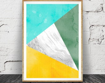 Geometric Print, Triangles Wall Art, Marble Aqua Green Yellow Decor, Printable Art, Instant Download, Modern Minimalist, Colourful Abstract
