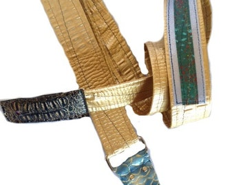 Gold and Green Adjustable Guitar or Bass Strap