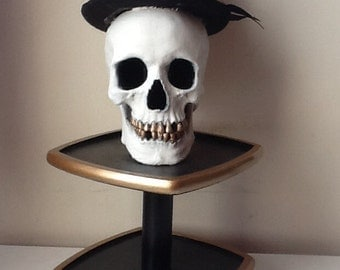Grinning Skull on Rotating Stand