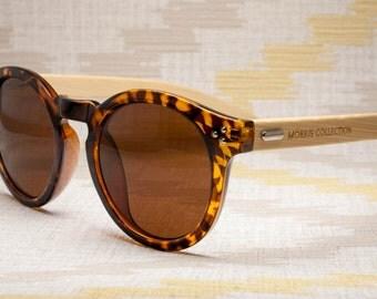 Hepburn - Round Tortoise Eco-friendly Bamboo Sunglasses