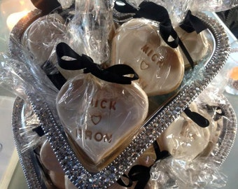 Wedding cookies, bonbonniere, guest gift, wedding dessert, coffee, thank you gift, bride, groom, heart, stamped cookie, decorated cookie