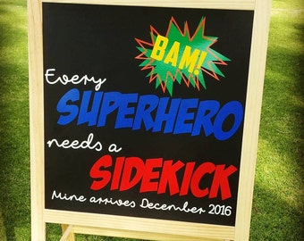 Chalkboard, Baby, Announcement, Superhero, Sidekick, Custom, Personalised,