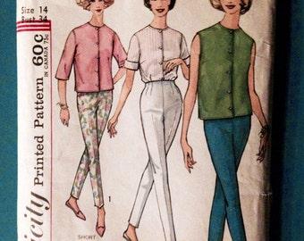 Vintage 1960s Pantsuit Simplicity 4434 Mod Collarless Top Slim Cigarette Pants Size 14 Bust 34 Sewing Pattern