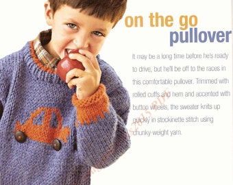 "On The Go Car Pullover Knitting Pattern 29-37"" Chunky - PDF Download"